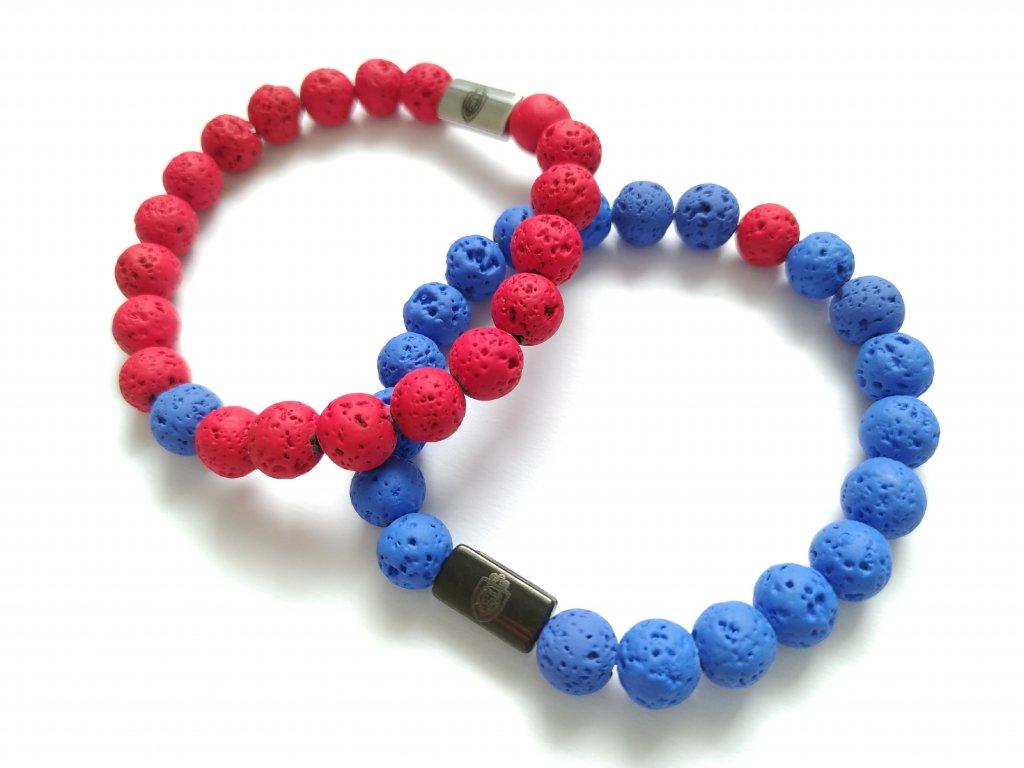 Párové Náramky Jin a Jang   Lávové kameny červený a modrý