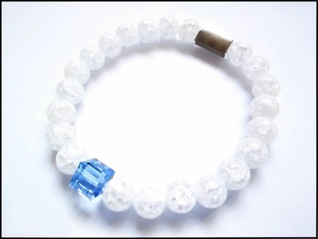 Náramek Cube Light Sapphire Swarovski, Praskaný Křišťál