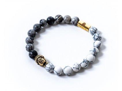 náramek zlatý buddha, jaspis, howlit (4)