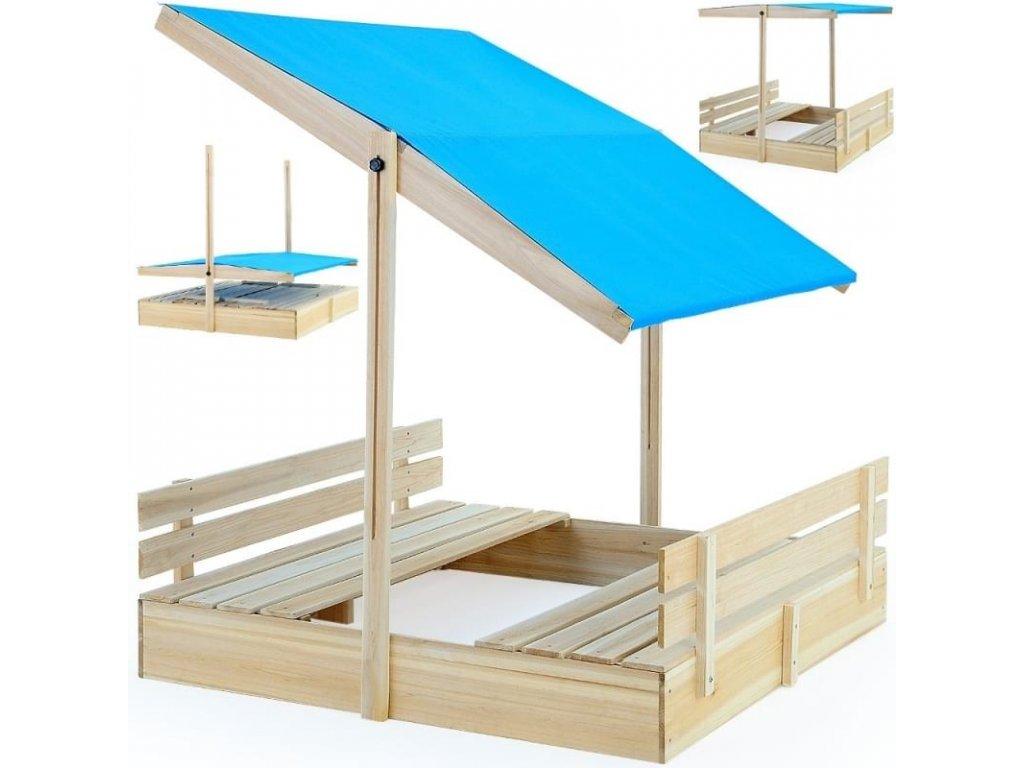 Pískoviště s nastavitelnou stříškou a lavičkami
