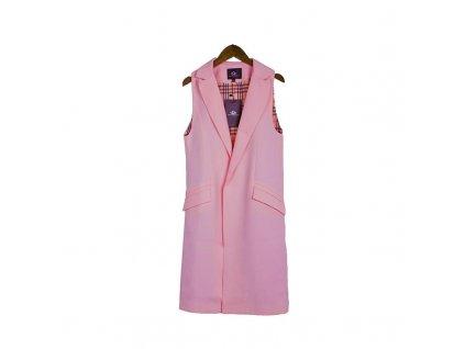 Dámská dlouhá vesta růžová