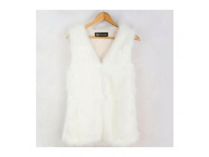 Dámská vesta - kožíšek bílá