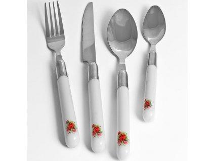 Sada příborů 24 ks z nerezové oceli s květinovým dekorem