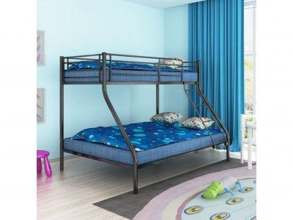 139894 detska poschodova postel 200x140 200x90 cm kovova cerna