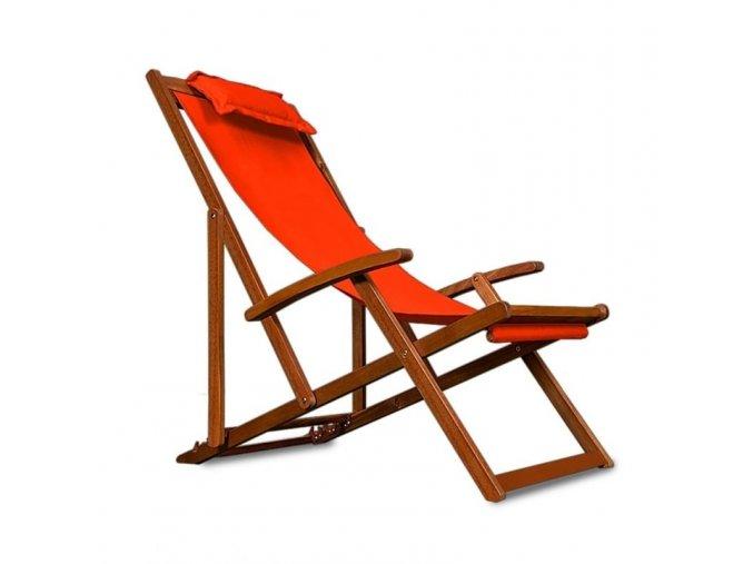 Lehátko z akátového dřeva oranžové