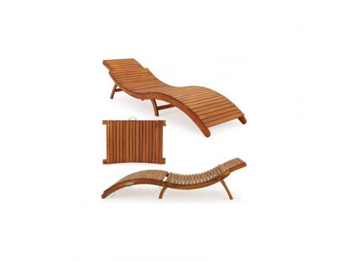 Skládací dřevěné lehátko,cestovní,snadno složitelné