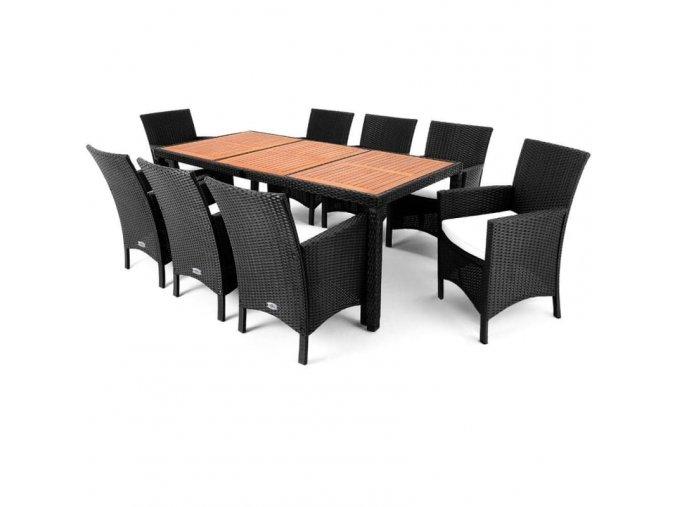 Zahradní nábytek 8+1, černý-dřevěná deska