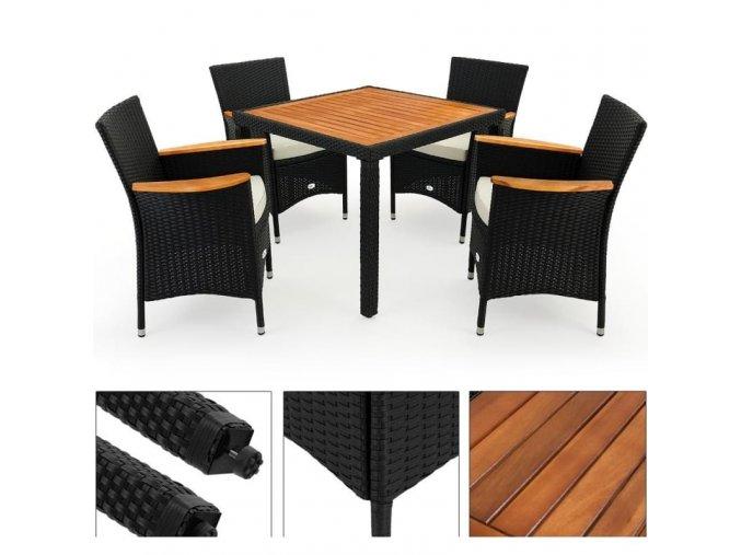 Zahradní nábytek 4+1, dřevo