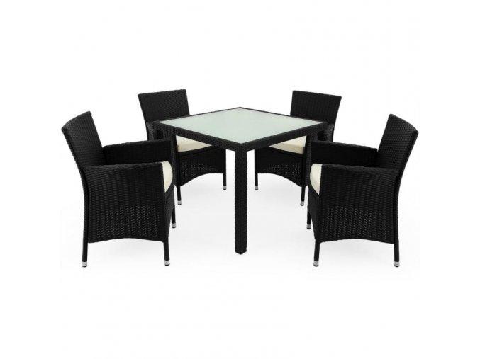 Polyratanový nábytek 4+1, černý