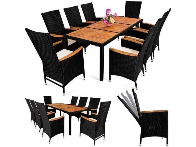 Zahradní nábytek se sklopnými opěradly 8+1, dřevo