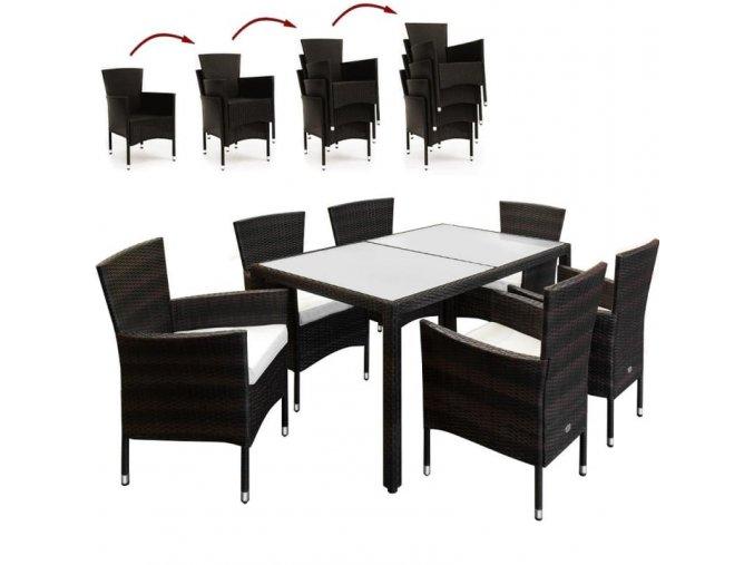 Polyratanový nábytek 6+1, hnědý