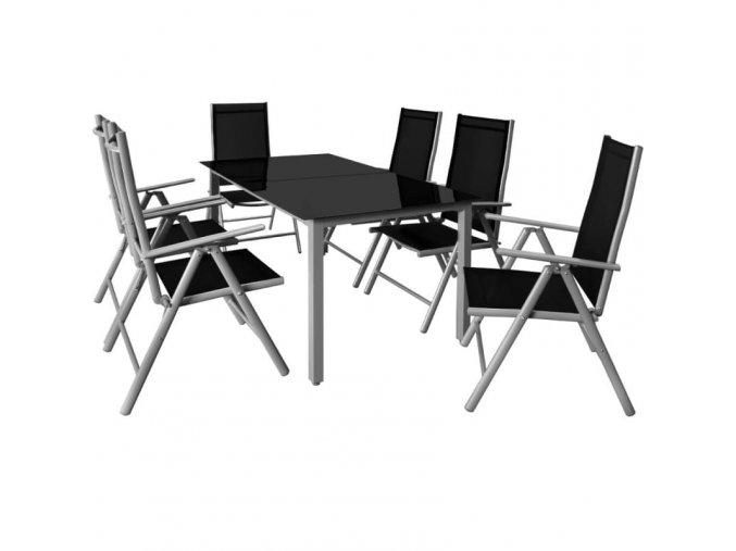 Hliníkový zahradní nábytek 6+1, šedý