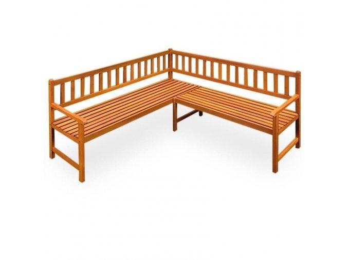 Zahradní rohová lavička z eukalyptového dřeva