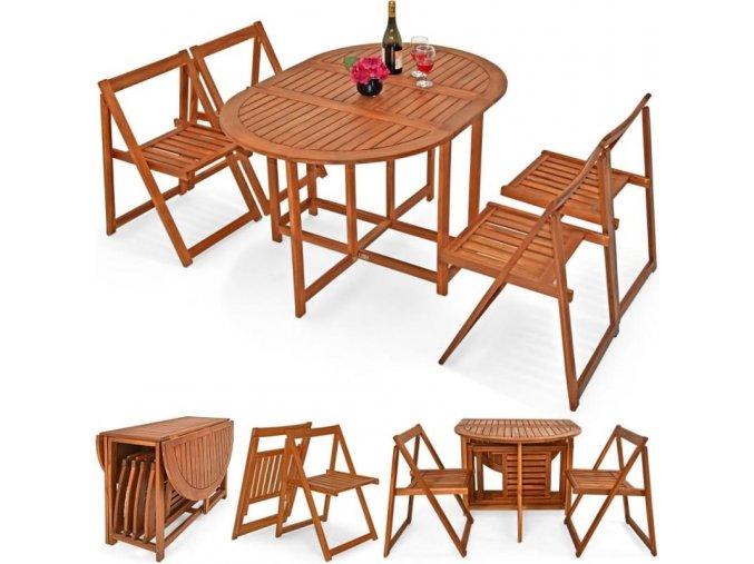 Balkonový set z akátového dřeva 4+1