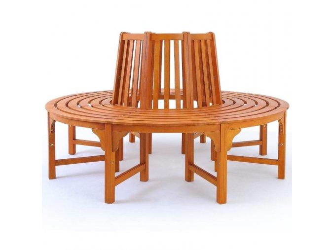 Kruhová sedací lavička z eukalyptového dřeva