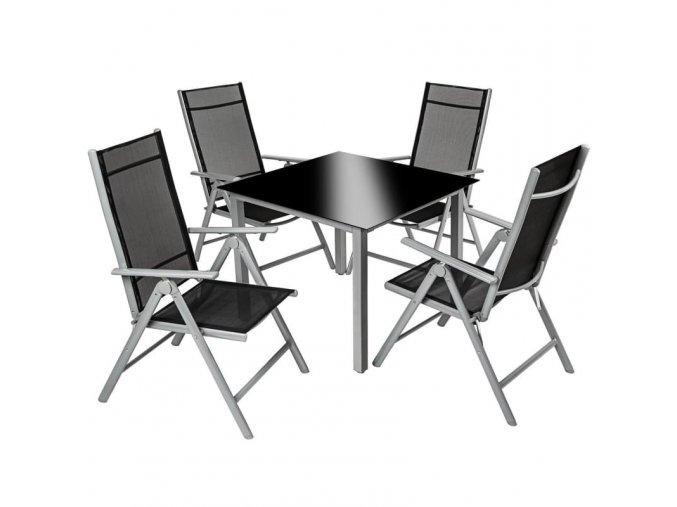Hliníkový zahradní nábytek 4+1, šedý