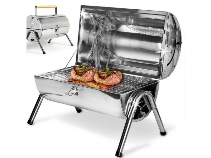 Kompaktní zahradní BBQ gril z nerezové oceli