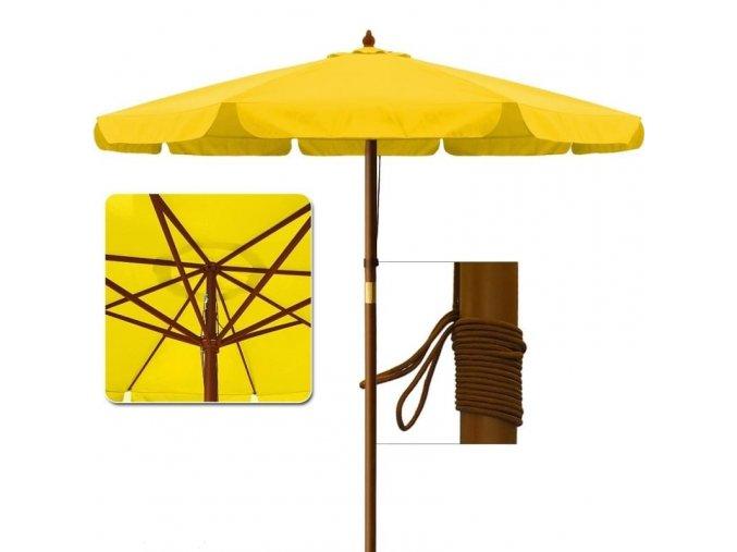 Zahradní dřevný slunečník žlutý O 3,5m