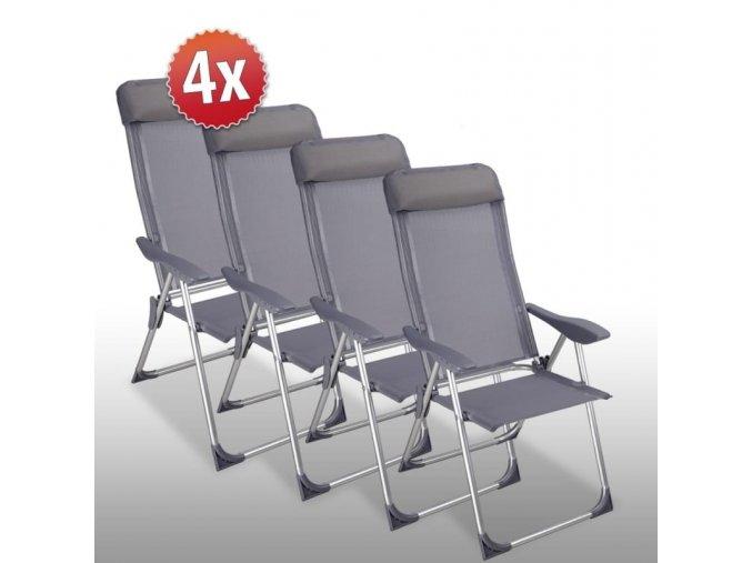 Set 4 hliníkových židlí s vysokým opěrátkem
