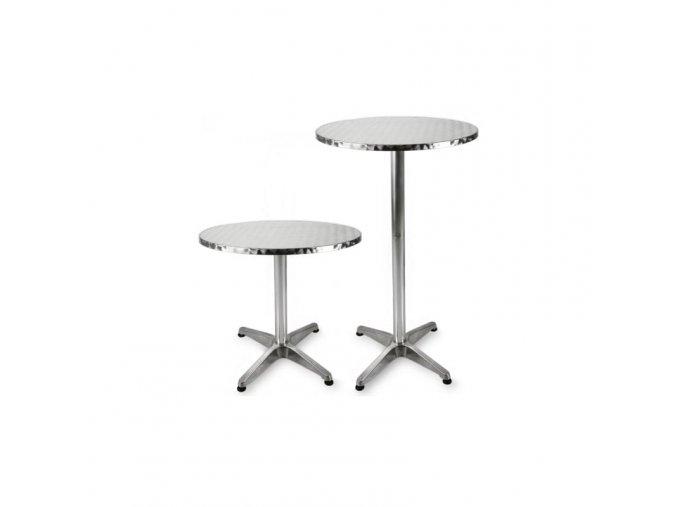 Barový stolek hliníkový, nastavitelná výška