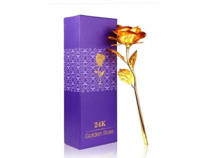Pozlacená růže v dárkovém balení