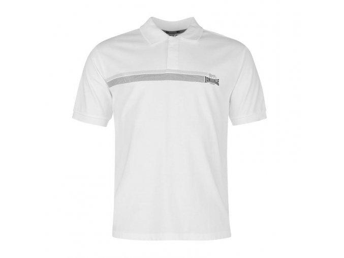 Lonsdale 2 Stripe pánské sportovní Polo bílá