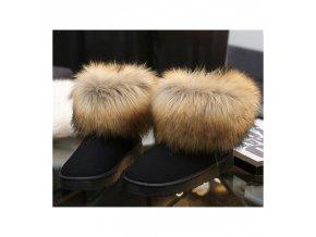Boty s kožíškem černé