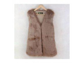 Dámská vesta - kožíšek krémová