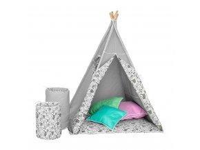Dětský luxusní stan s výbavou Teepee Akuku šedo-bílý
