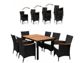 Polyratanový nábytek s akátovými prvky