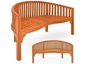 Oblá dřevěná zahradní lavice