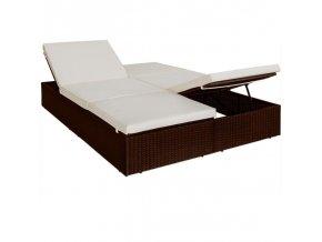Ratanová postel dvojlůžko 193 x 116 cm hnědá