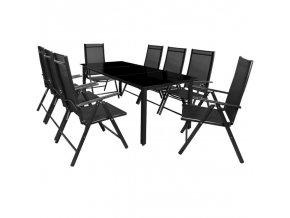 Hliníkový zahradní nábytek 8+1, černý