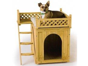 Psí bouda s balkonem - z masivního dřeva