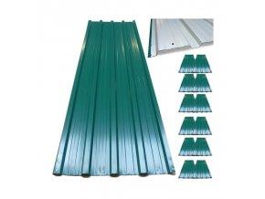 12 ks střešní krytina - zvlněný plech zelený