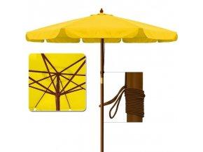 Zahradní dřevný slunečník žlutý Ø 3,5m