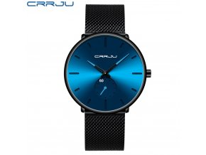 CRRJU Fashion Blue Men Watch Top Luxury Brand Minimalist Ultra thin Quartz Watch Casual Waterproof Clock (1)