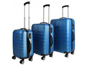 Set 3 cestovních kufrů z tvrdého plastu modrý kufr