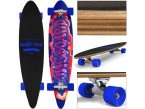 Longboard 112x 26 cm, modrá kolečka