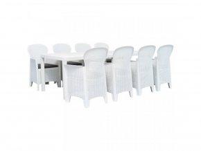 9dílný zahradní jídelní set bílý plastový ratanový vzhled