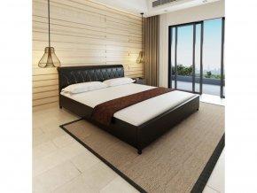 Rám postele, umělá kůže, 180x200 cm, černá
