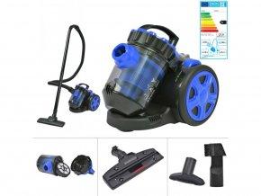 Bezsáčkový multi-cyklonový vysavač na podlahy a koberce, modrý