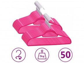 50 ks šatních ramínek protiskluzové růžové samet