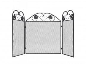 3-panelová železná krbová zástěna černá