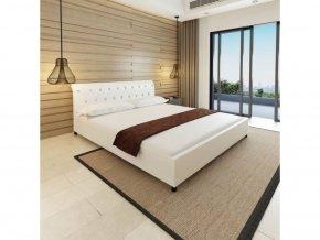Postel s matrací 180x200 cm umělá kůže bílá