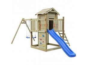 Hrací věž, set s žebříkem, skluzavkou a houpačkami