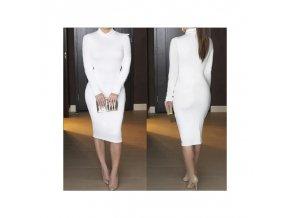 Dámské pouzdrové dlouhé šaty bílé