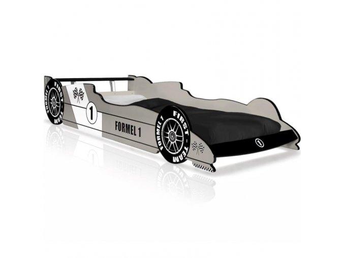 Dětská postel Formule 1 závodní lůžko,černo-stříbrná/modrá (Barva Červená)