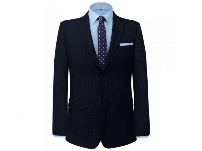 6114 6 pansky dvoudilny business oblek prouzek namornicka modr vel 46