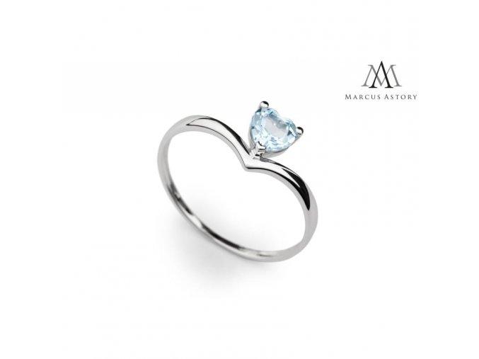 Prsten Marcus Astory MA35 ze 14K bílého zlata s Topazem (Velikost prstenu 50)
